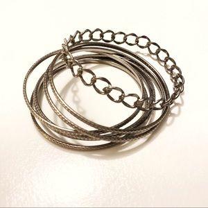 Gunmetal silver bangle bracelets